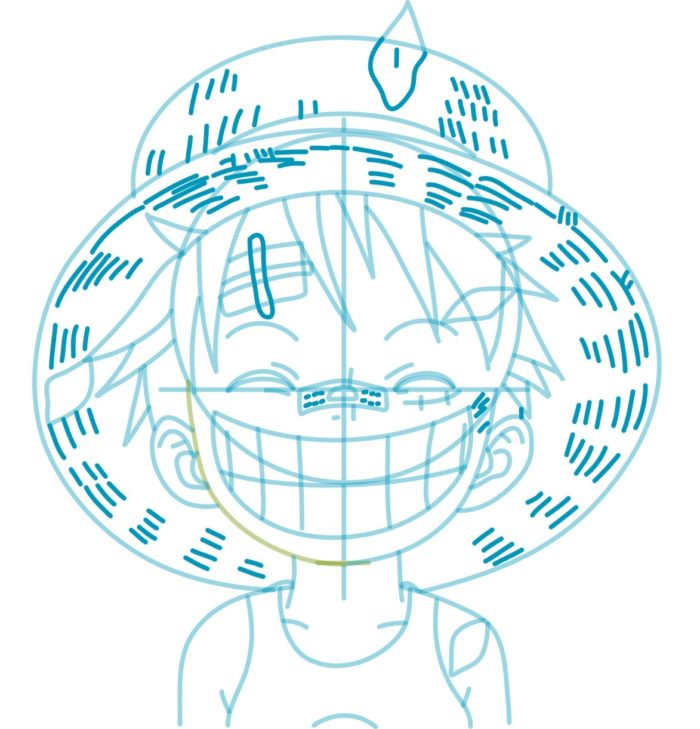 Как нарисовать аниме Луффи 8