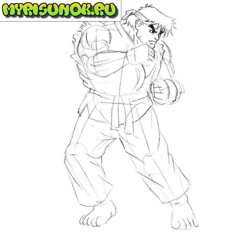 Как нарисовать Рю из Street Fighter 5