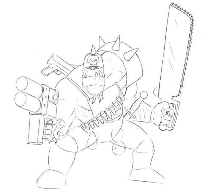 Как нарисовать орка из Вархамер 6