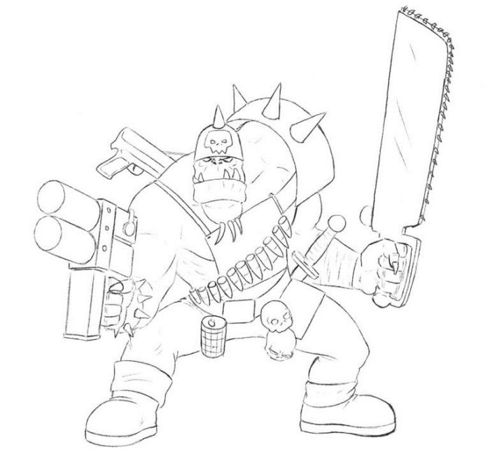 Как нарисовать орка из Вархамер 7