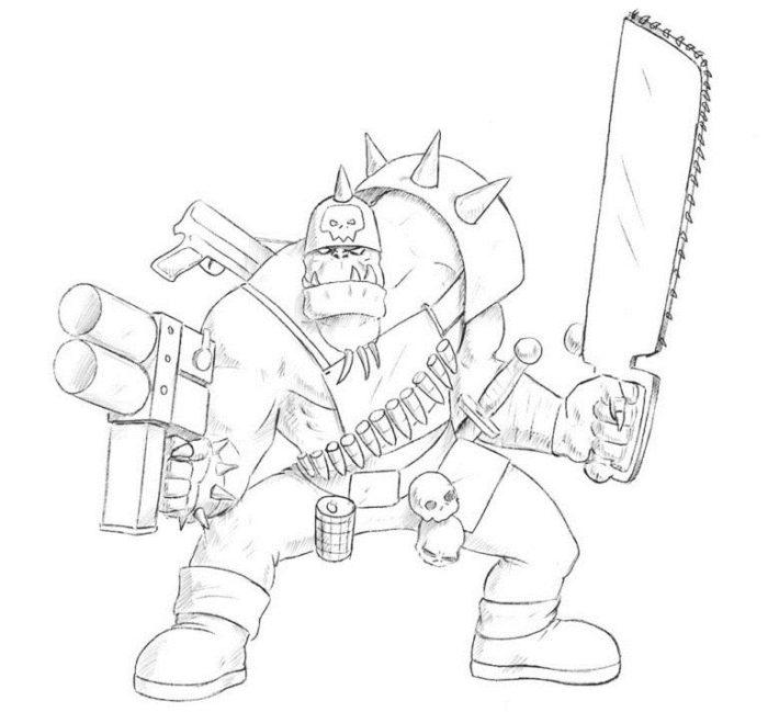 Как нарисовать орка из Вархамер 8