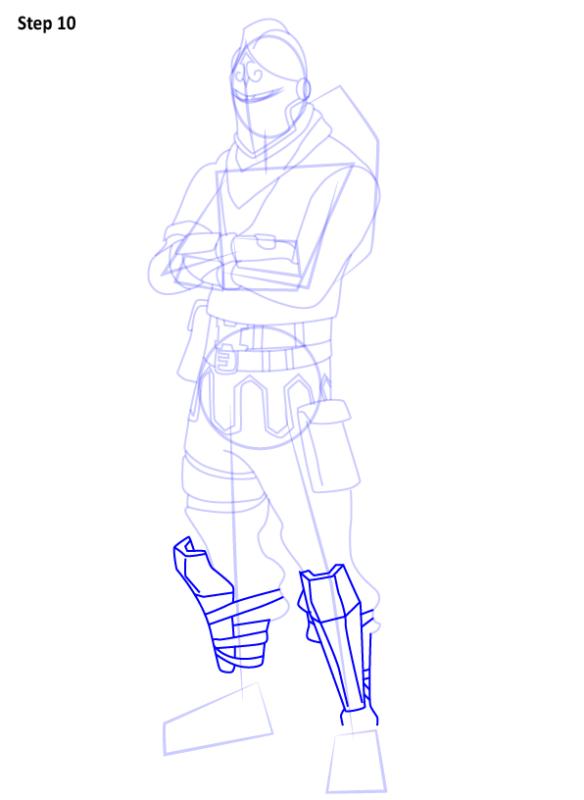 Как нарисовать скин Черного Рыцаря из Фортнайт 10