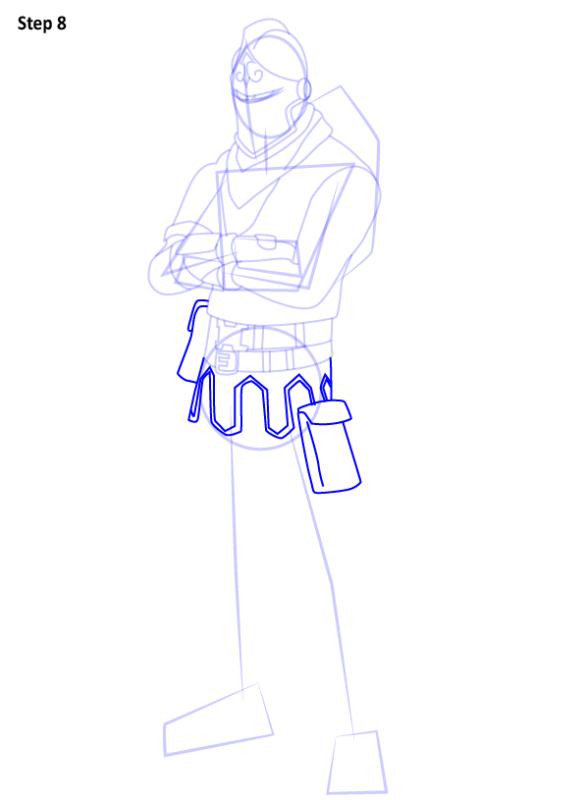 Как нарисовать скин Черного Рыцаря из Фортнайт 8