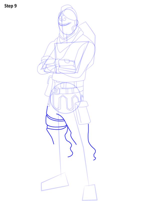 Как нарисовать скин Черного Рыцаря из Фортнайт 9