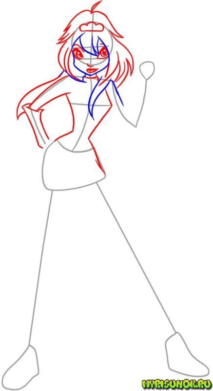 Как нарисовать фею Блум 3