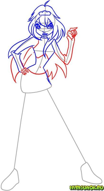 Как нарисовать фею Блум 4