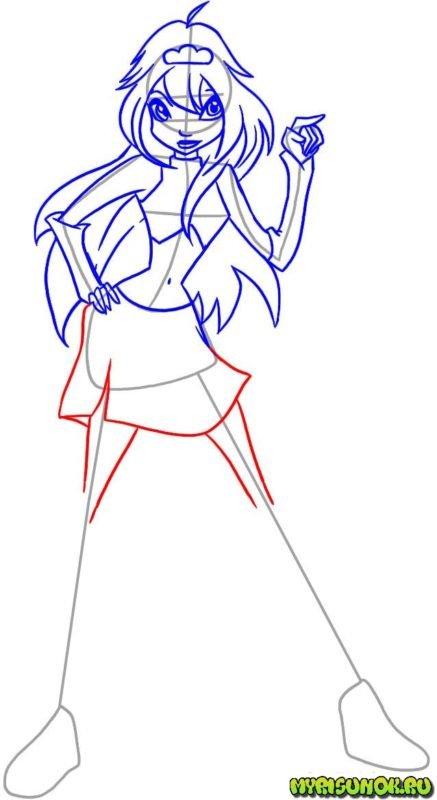 Как нарисовать фею Блум 5