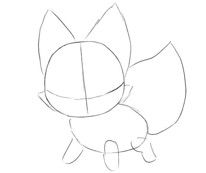 Как нарисовать чиби лису 3
