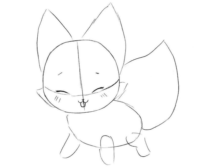 Как нарисовать чиби лису 4