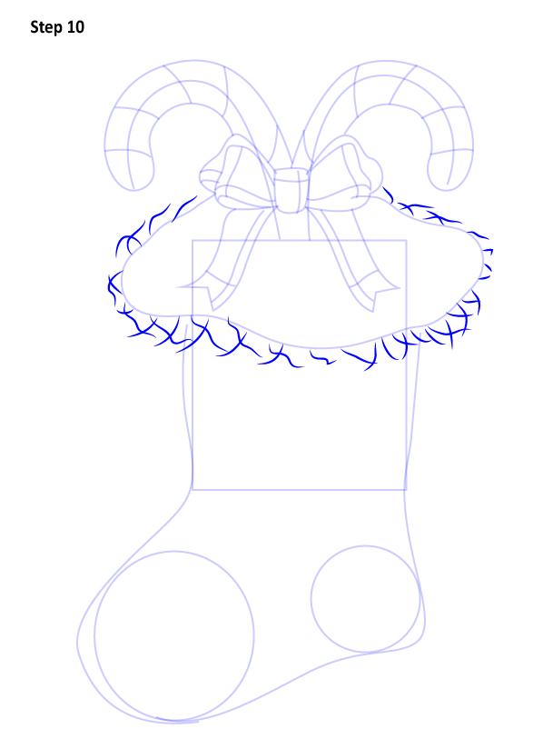 Рисуем Рождественский носок 10