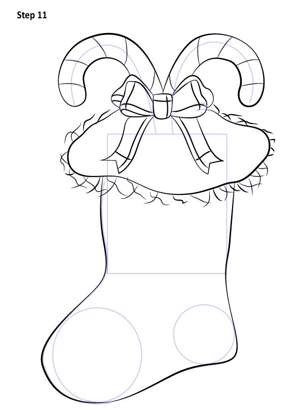 Рисуем Рождественский носок 11