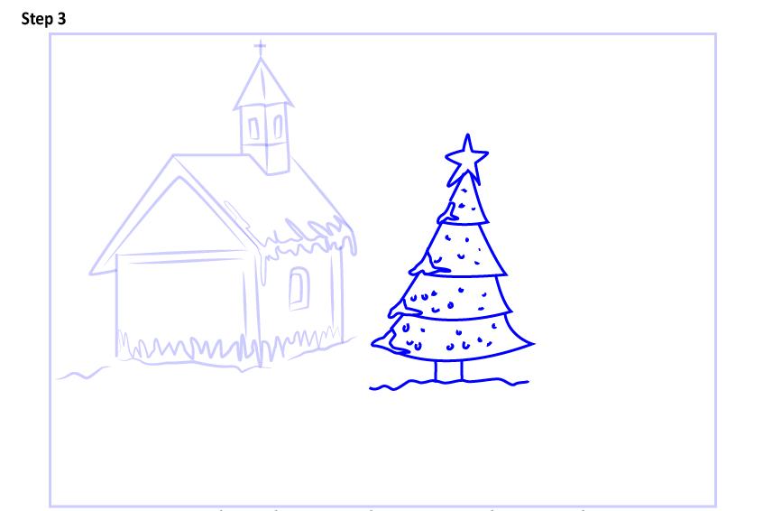 Рисуем новогодний пейзаж 10