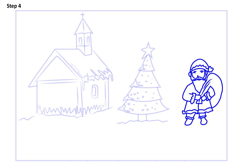 Рисуем новогодний пейзаж 11