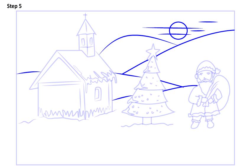Рисуем новогодний пейзаж 12