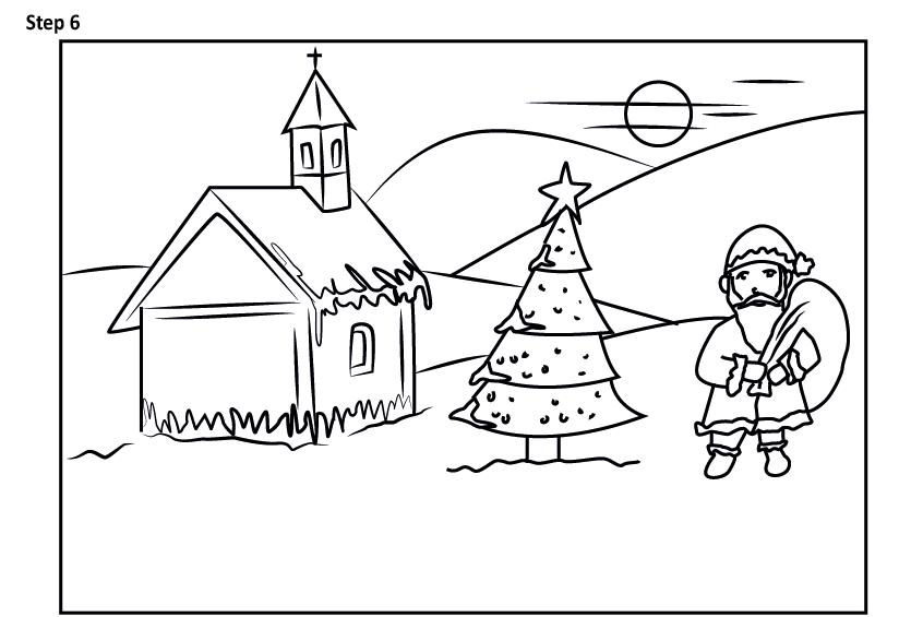 Рисуем новогодний пейзаж 13