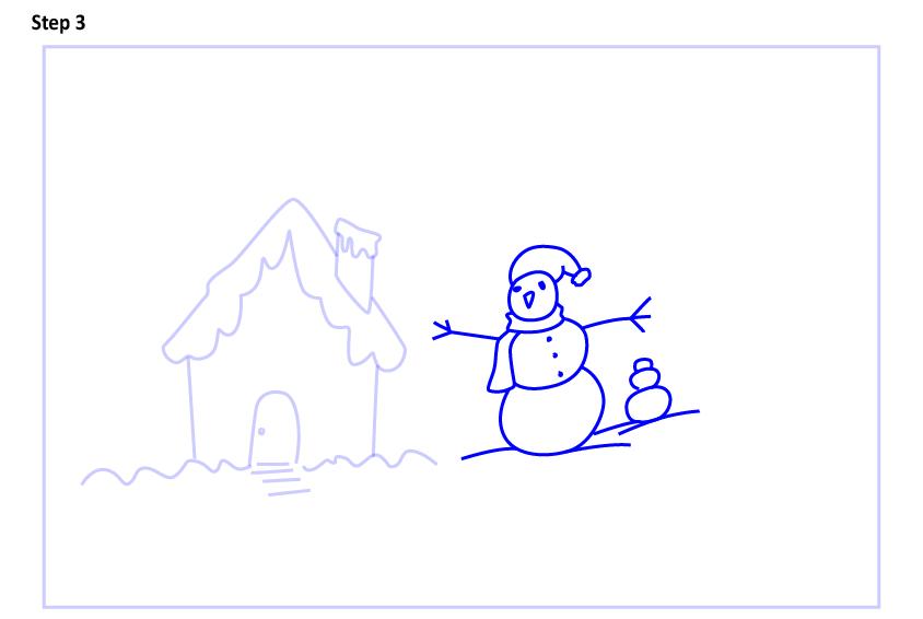 Рисуем новогодний пейзаж 3