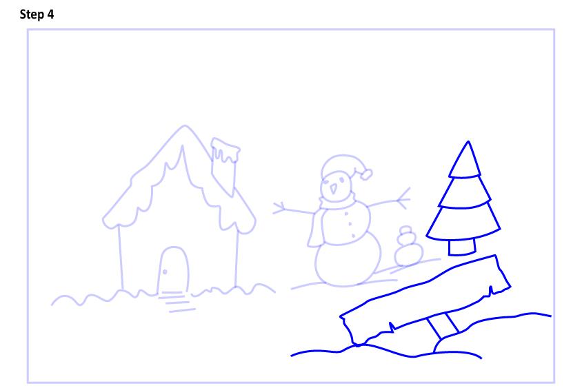 Рисуем новогодний пейзаж 4