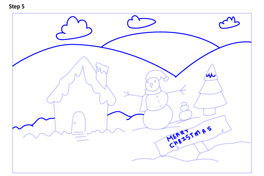 Рисуем новогодний пейзаж 5