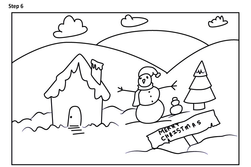 Рисуем новогодний пейзаж 6