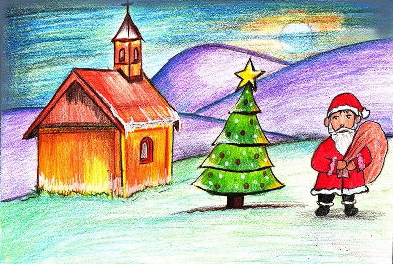 Рисуем новогодний пейзаж 7