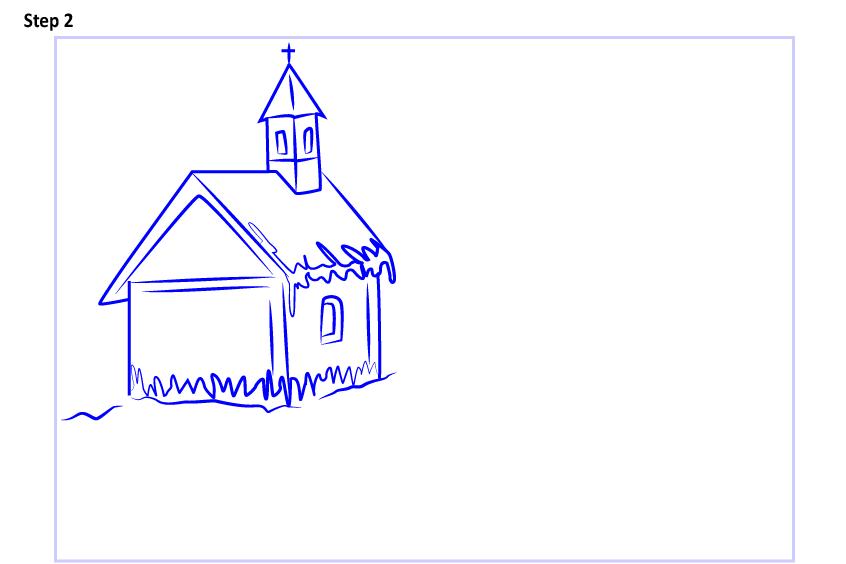 Рисуем новогодний пейзаж 9