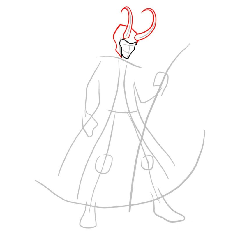 Как нарисовать Локи 3