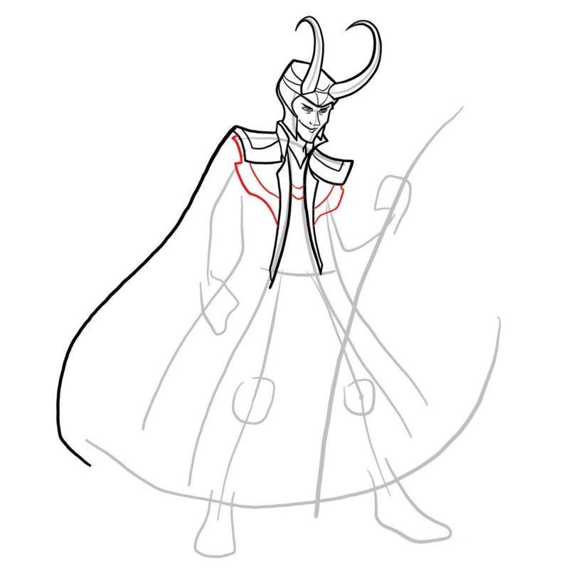 Как нарисовать Локи 8