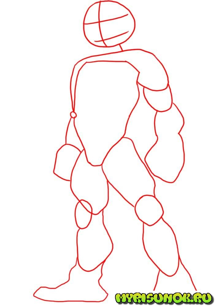 Как нарисовать черепашку Рафаэля 1