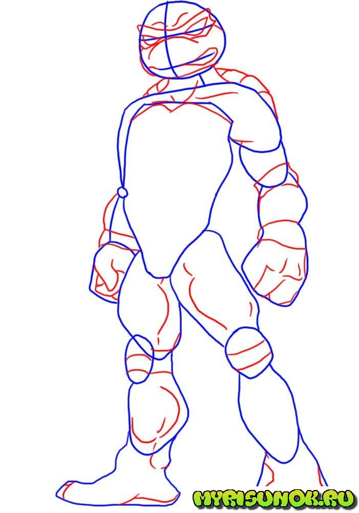 Как нарисовать черепашку Рафаэля 2