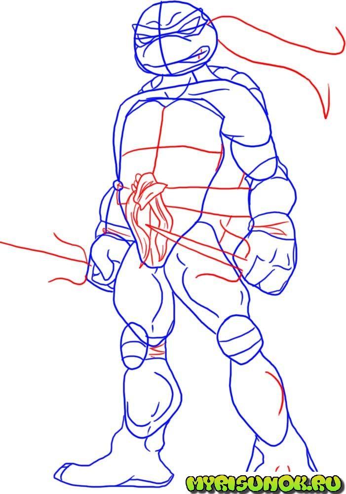 Как нарисовать черепашку Рафаэля 3