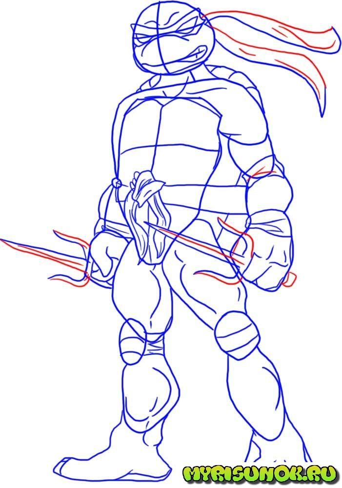 Как нарисовать черепашку Рафаэля 4