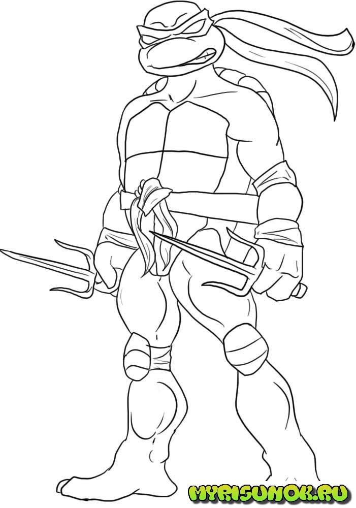 Как нарисовать черепашку Рафаэля 5