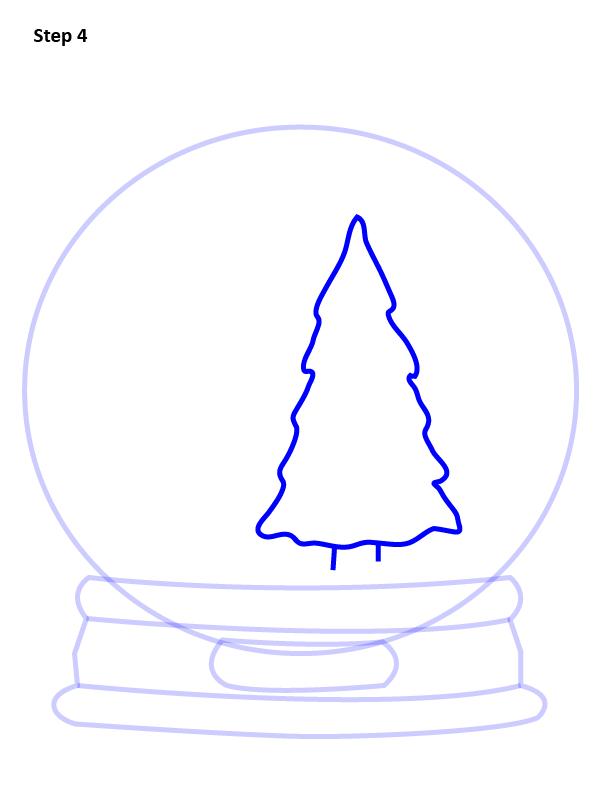 как нарисовать снежный шар 4