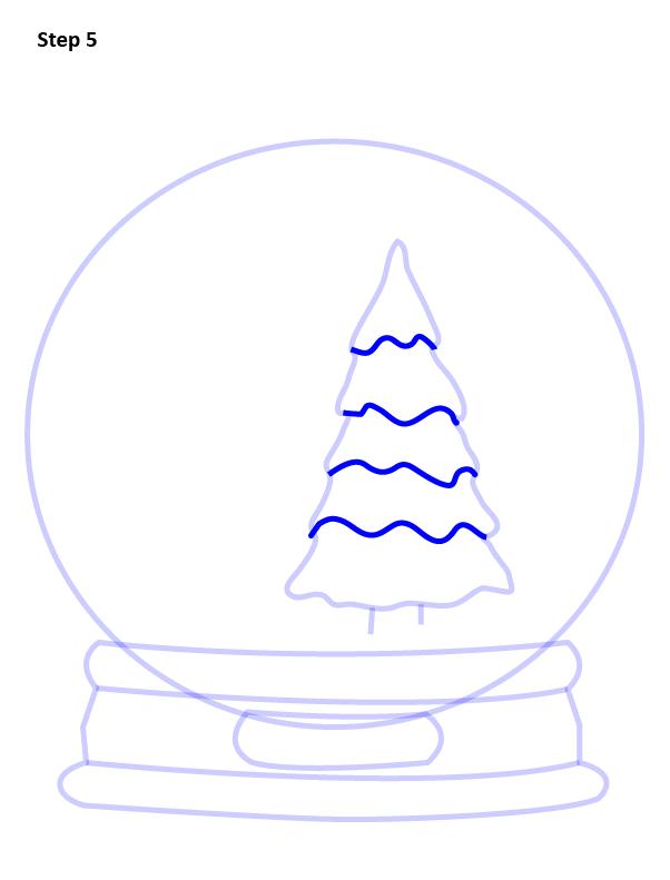 как нарисовать снежный шар 5