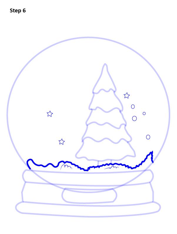 как нарисовать снежный шар 6