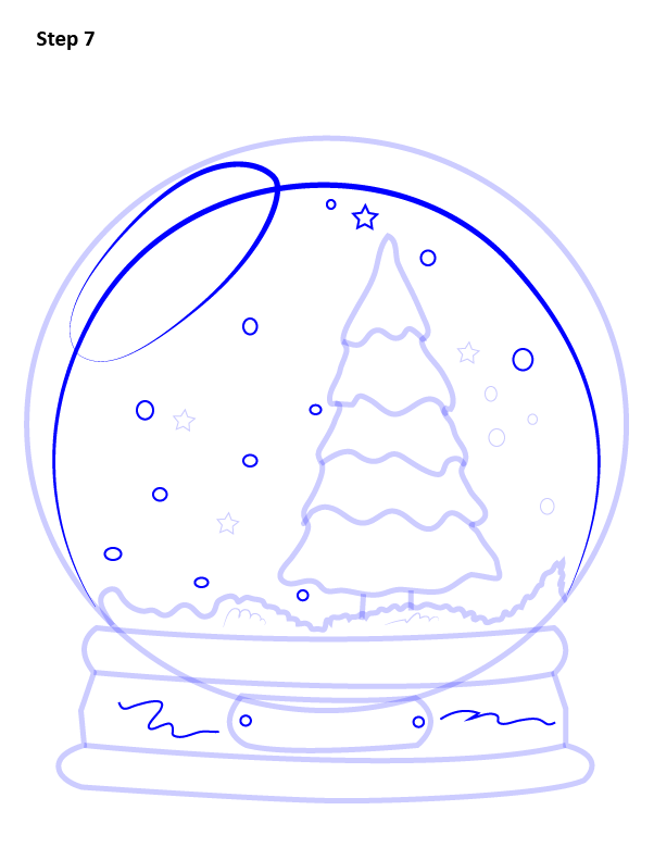 как нарисовать снежный шар 7