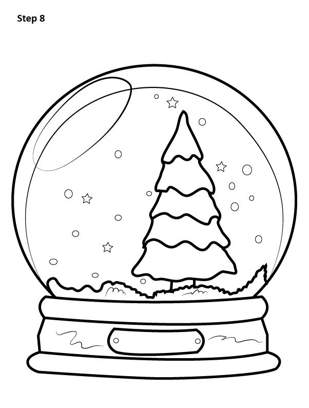 как нарисовать снежный шар 8