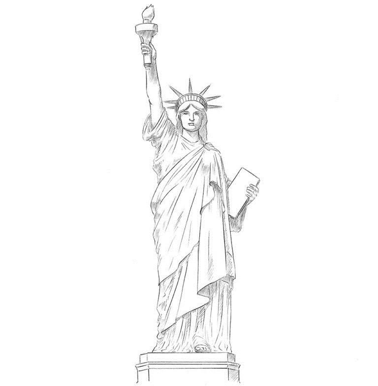 Как нарисовать Статую Свободы 0