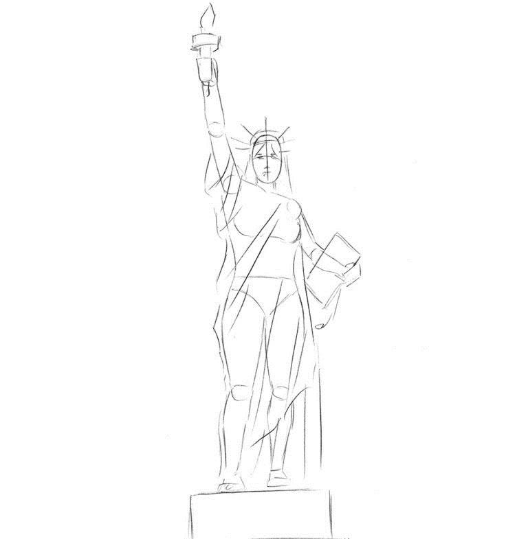 Как нарисовать Статую Свободы 3