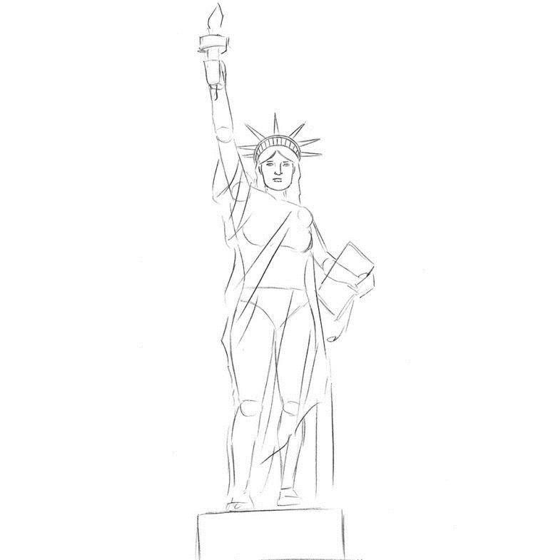 Как нарисовать Статую Свободы 4