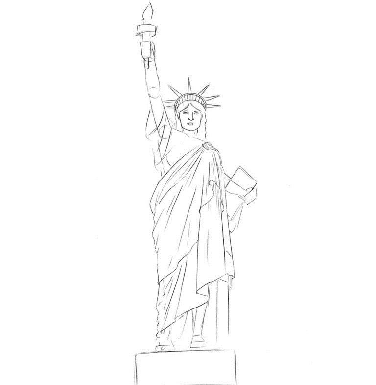 Как нарисовать Статую Свободы 5