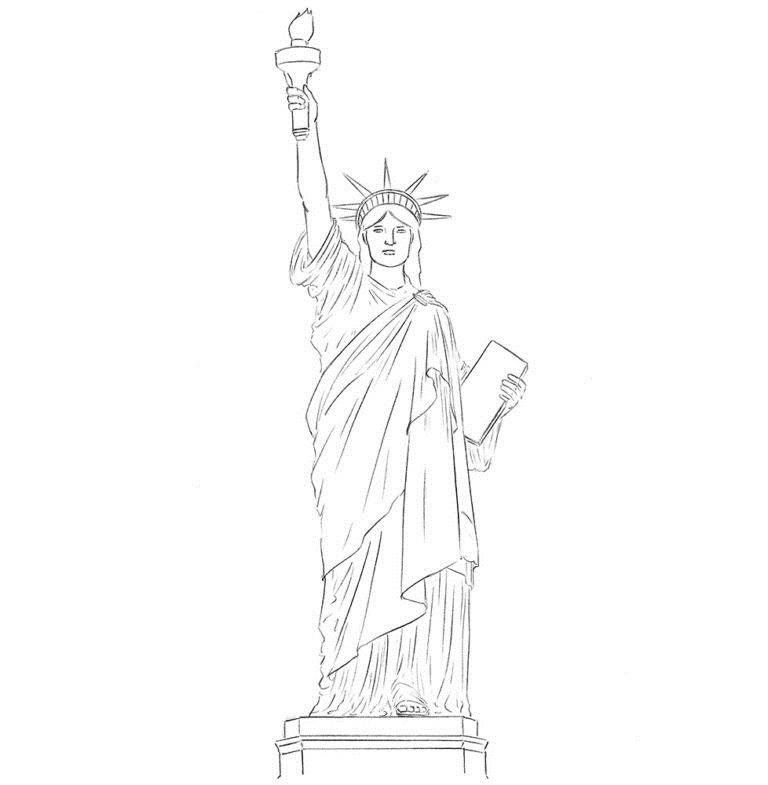 Как нарисовать Статую Свободы 7