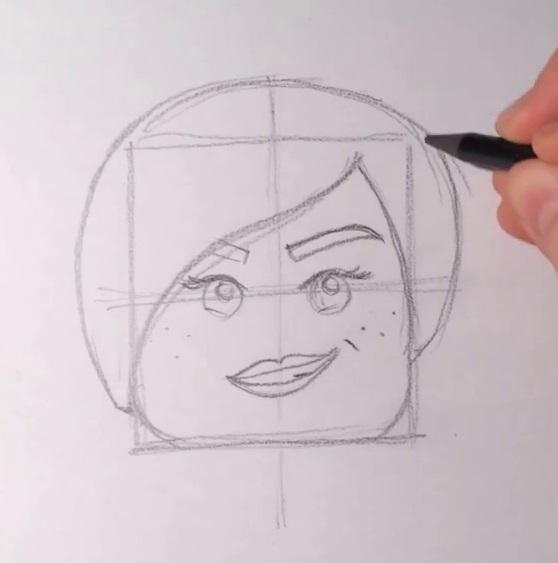 Как нарисовать Дикарку из лего 6
