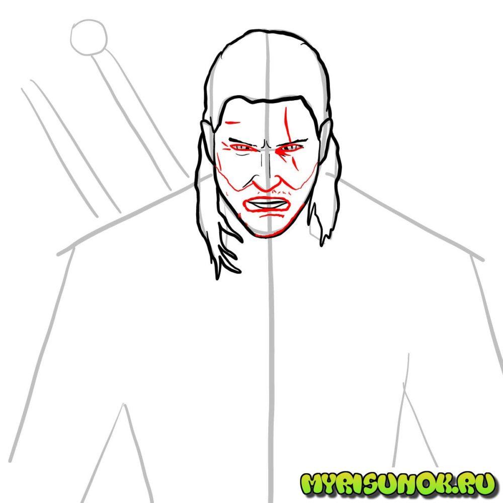 Как нарисовать Геральта 7