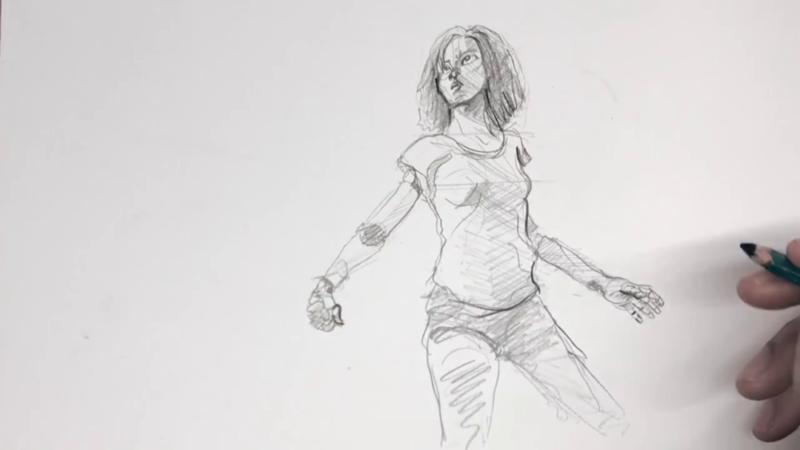 Как нарисовать Алиту 15