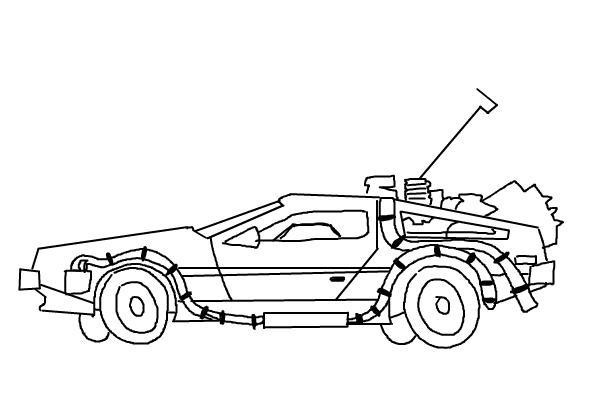Как нарисовать машину из назад в будущее 10