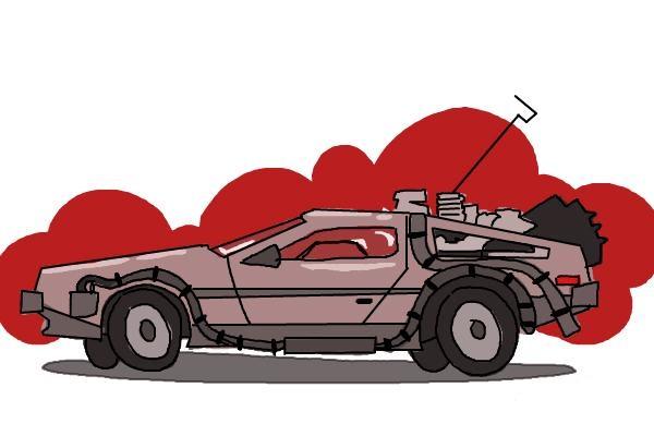 Как нарисовать машину из назад в будущее 11