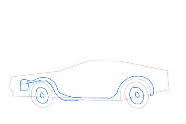 Как нарисовать машину из назад в будущее 5