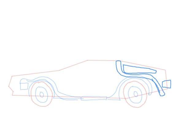 Как нарисовать машину из назад в будущее 6