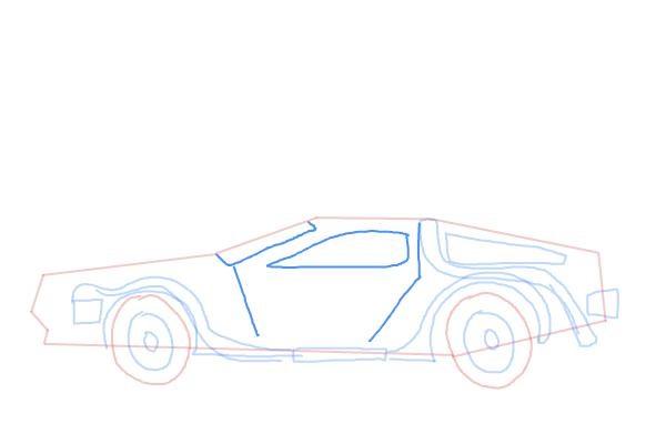 Как нарисовать машину из назад в будущее 7